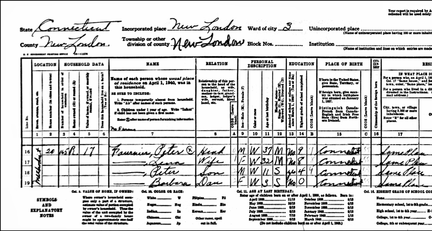 1940 US Federal Census Record for the Peter Fournier Household (Left)