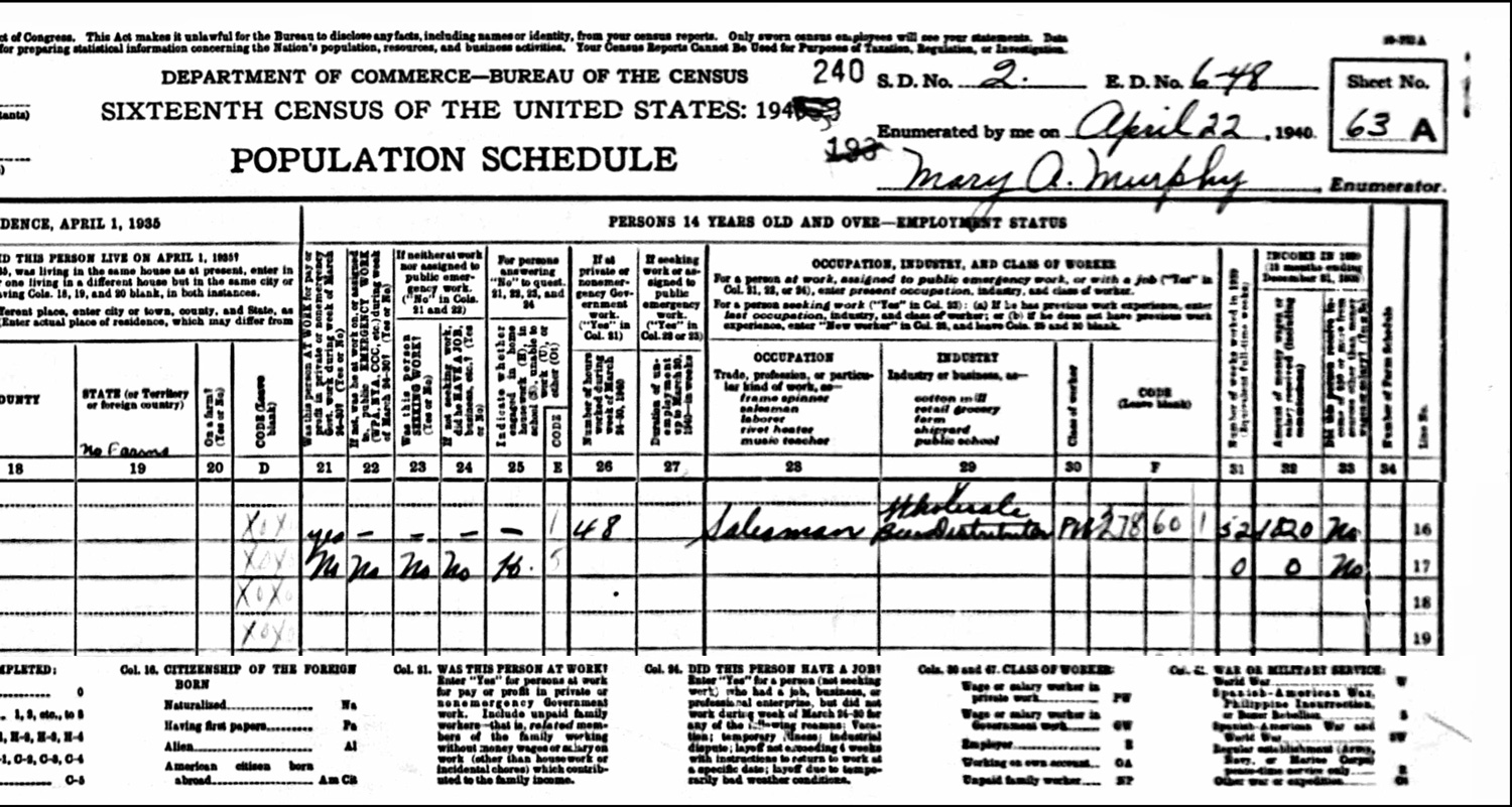 1940 US Federal Census Record for the Peter Fournier Household (Right)
