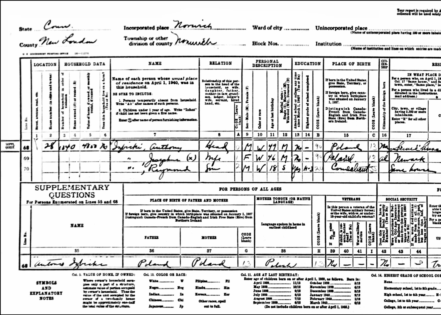 1940 US Federal Census Record for the Anthony Izbicki Household (Left)