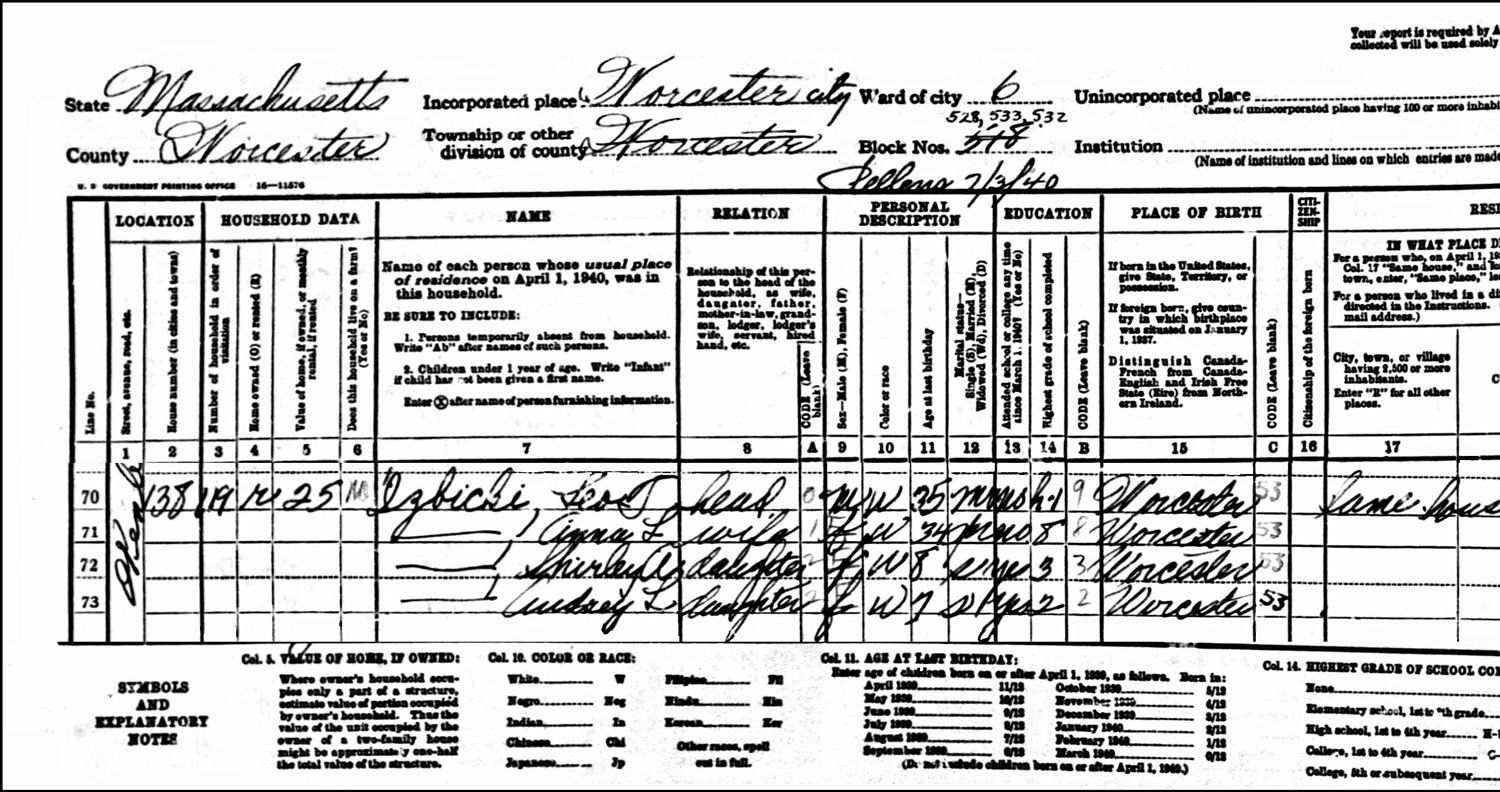 1940 US Federal Census Record for the Leo Izbicki Household (Left)