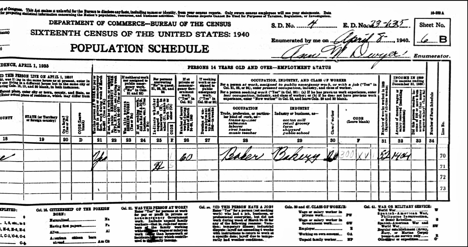 1940 US Federal Census Record for the Leo Izbicki Household (Right)