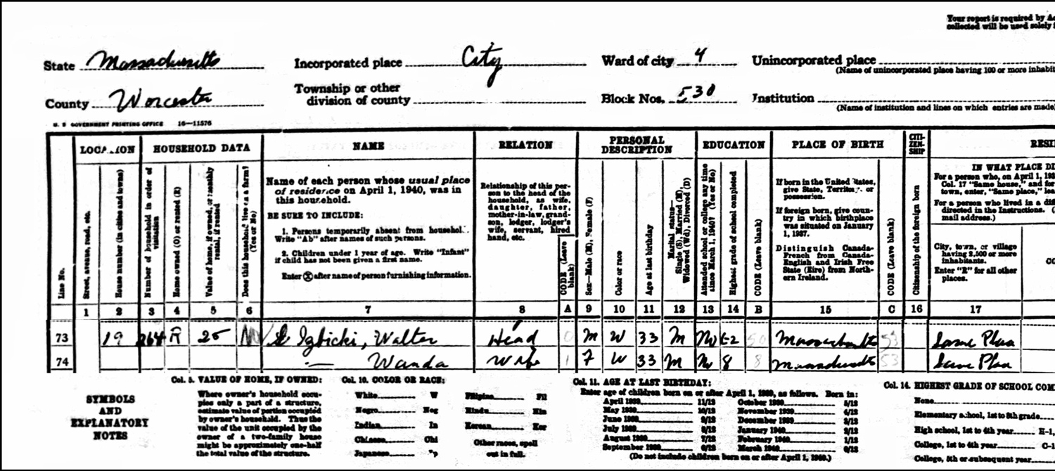 1940 US Federal Census Record for the Walter Izbicki Household (Left)