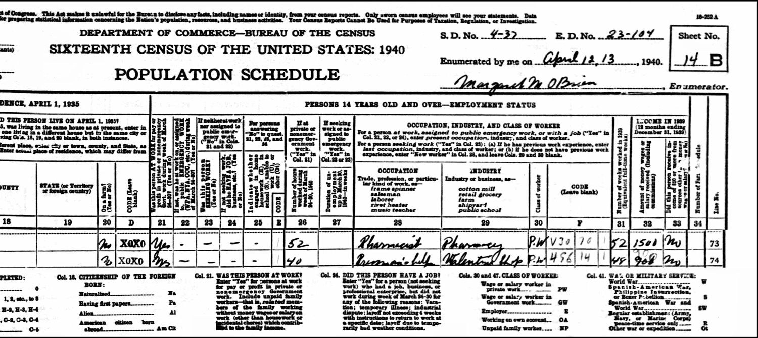 1940 US Federal Census Record for the Walter Izbicki Household (Right)