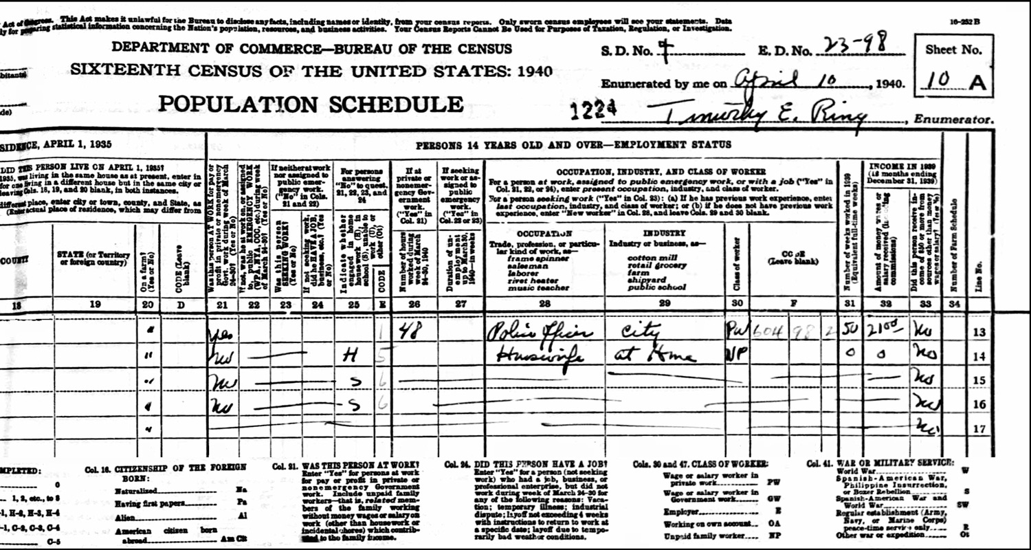 1940 US Federal Census Record for the William Izbicki Household (Right)