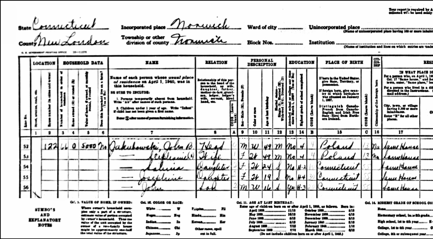 1940 US Federal Census Record for the Jan Jakubowski Household (Left)