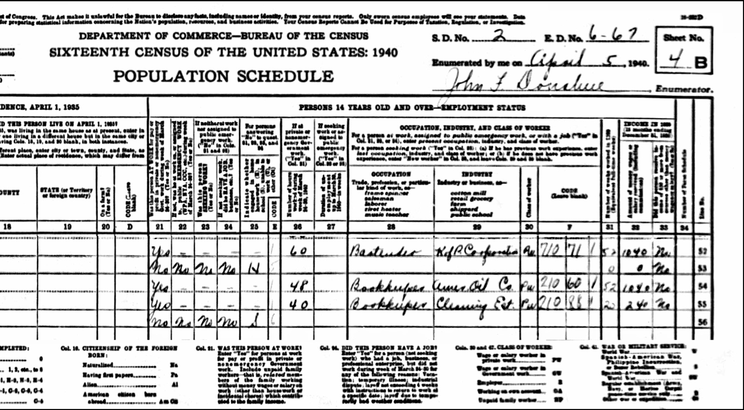 1940 US Federal Census Record for the Jan Jakubowski Household (Right)