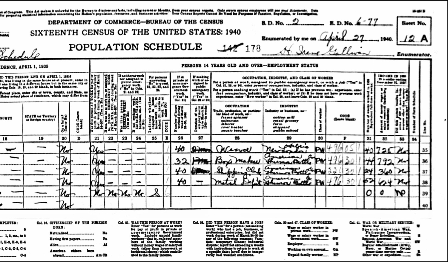 1940 US Federal Census Record for the John Janik Household (Right)