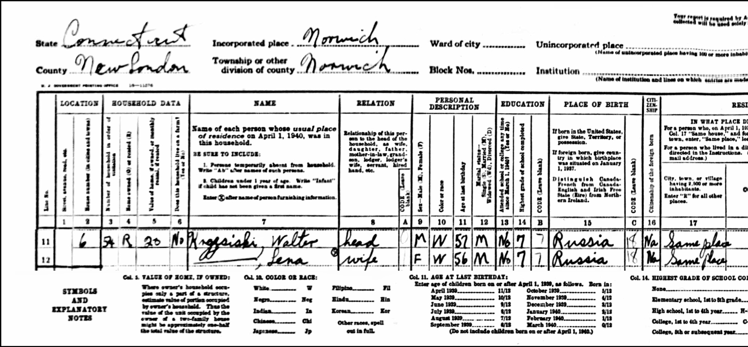 1940 US Federal Census Record for the Władysław Krzesicki Household (Left)