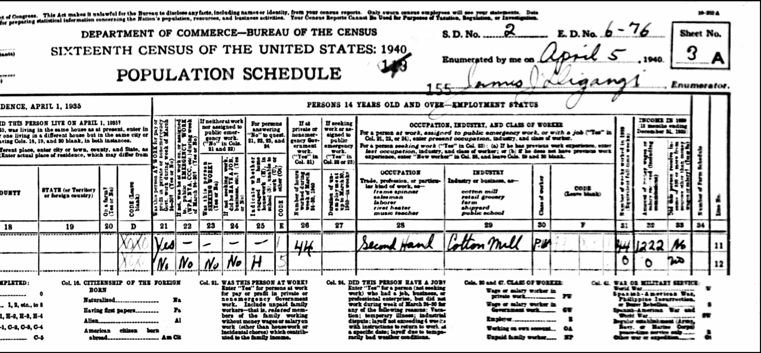 1940 US Federal Census Record for theWładysław Krzesicki Household (Right)