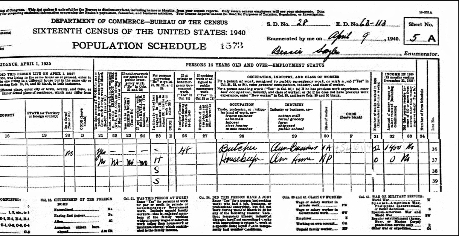1940 US Federal Census Record for the August Lather Household (Right)