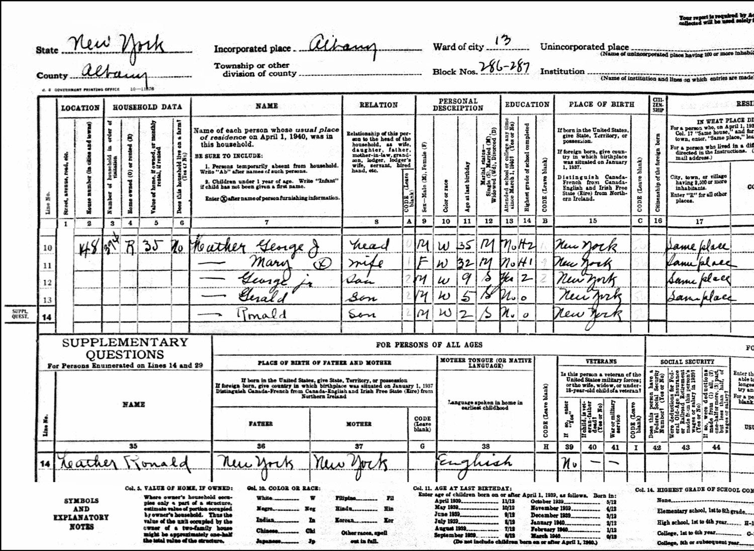 1940 US Federal Census Record for the George Lather Household (Left)