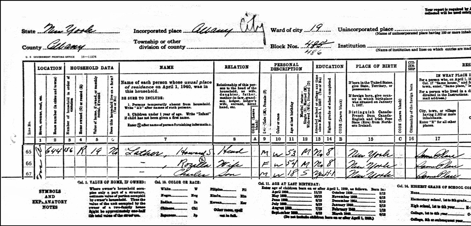 1940 US Federal Census Record for the Howard Lather Household (Left)