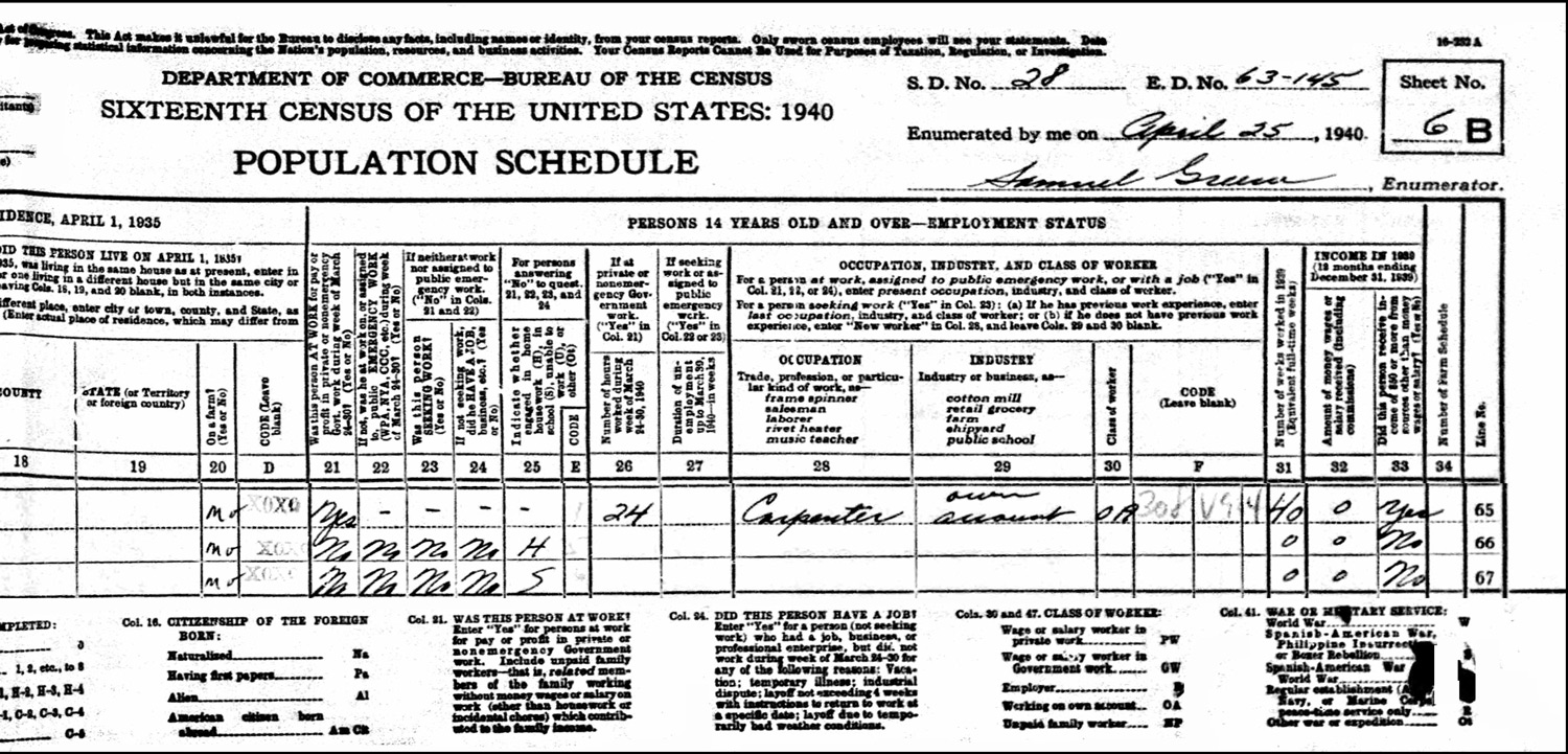 1940 US Federal Census Record for the Howard Lather Household (Right)