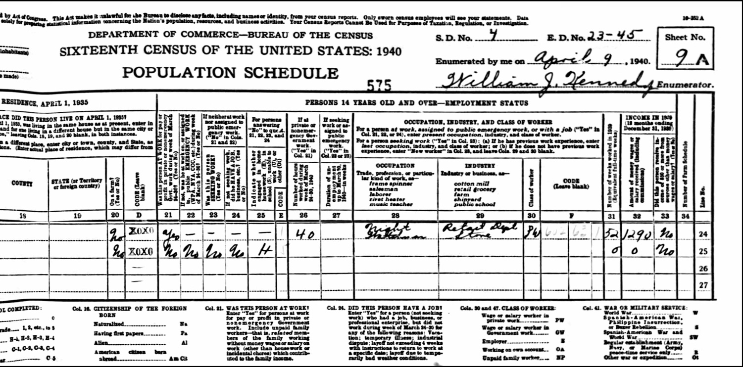 1940 US Federal Census Record for the George McGinn Household (Right)