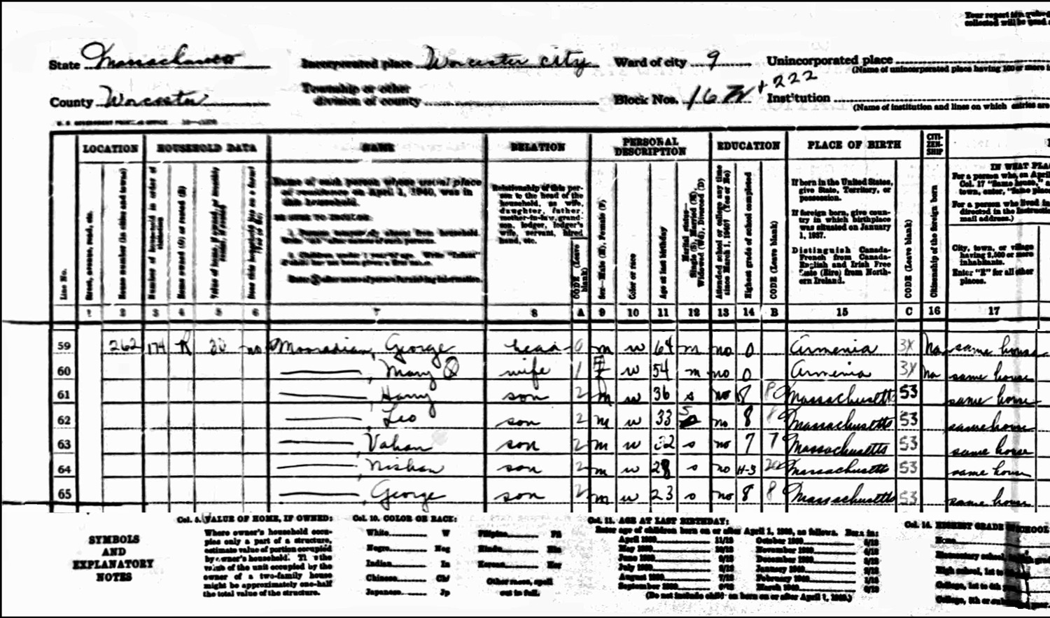 1940 US Federal Census Record for the George Mooradian Household (Left)