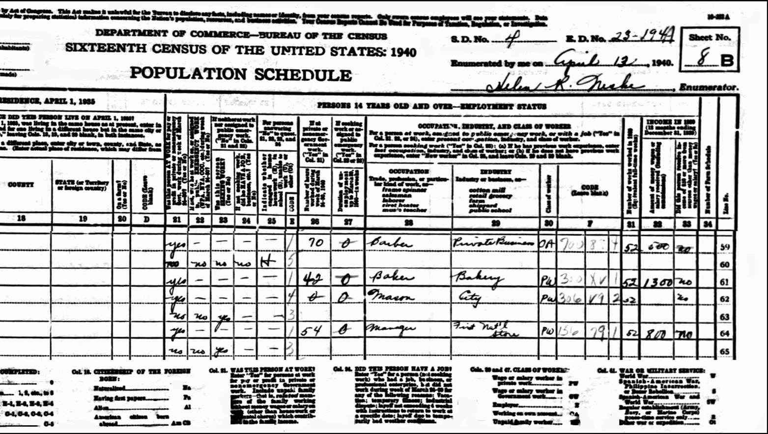 1940 US Federal Census Record for the George Mooradian Household (Right)