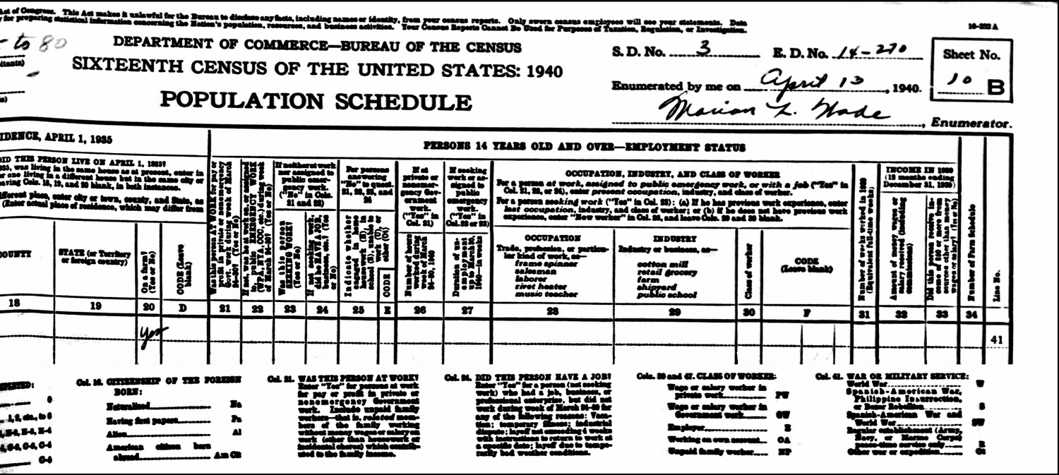 1940 US Federal Census Record for the Frank Niedzialkoski Household (Page B Right)