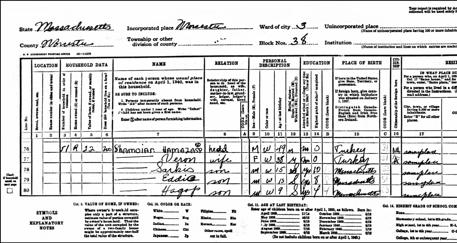 1940 US Federal Census Record for the Hamazasp Shamoian Household (Left)