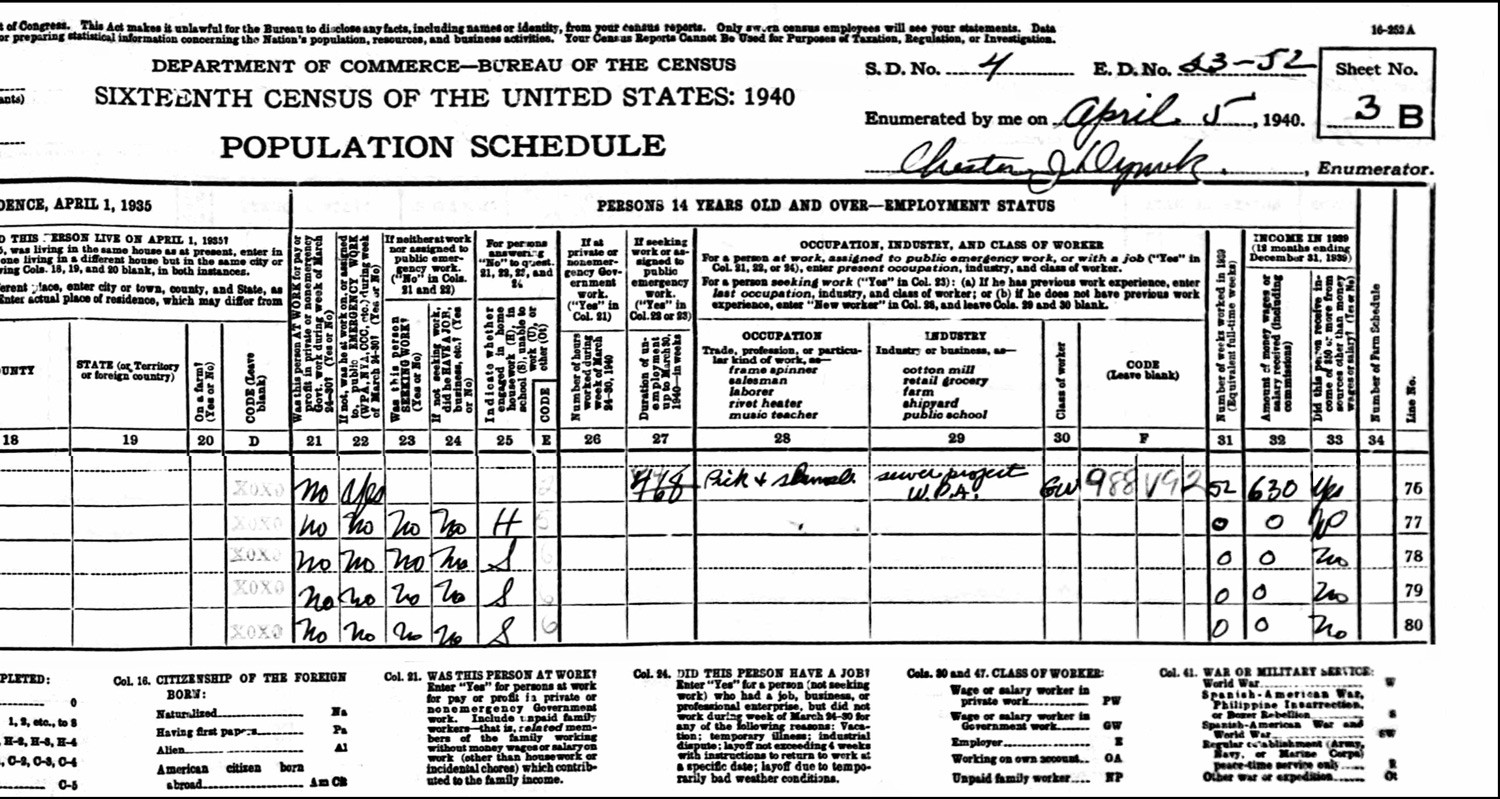 1940 US Federal Census Record for the Hamazasp Shamoian Household (Right)