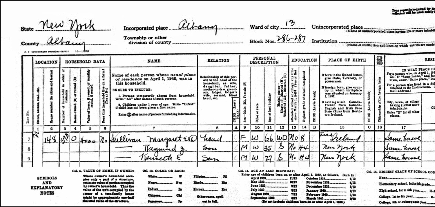 1940 US Federal Census Record for the Margaret Sullivan Household (Left)