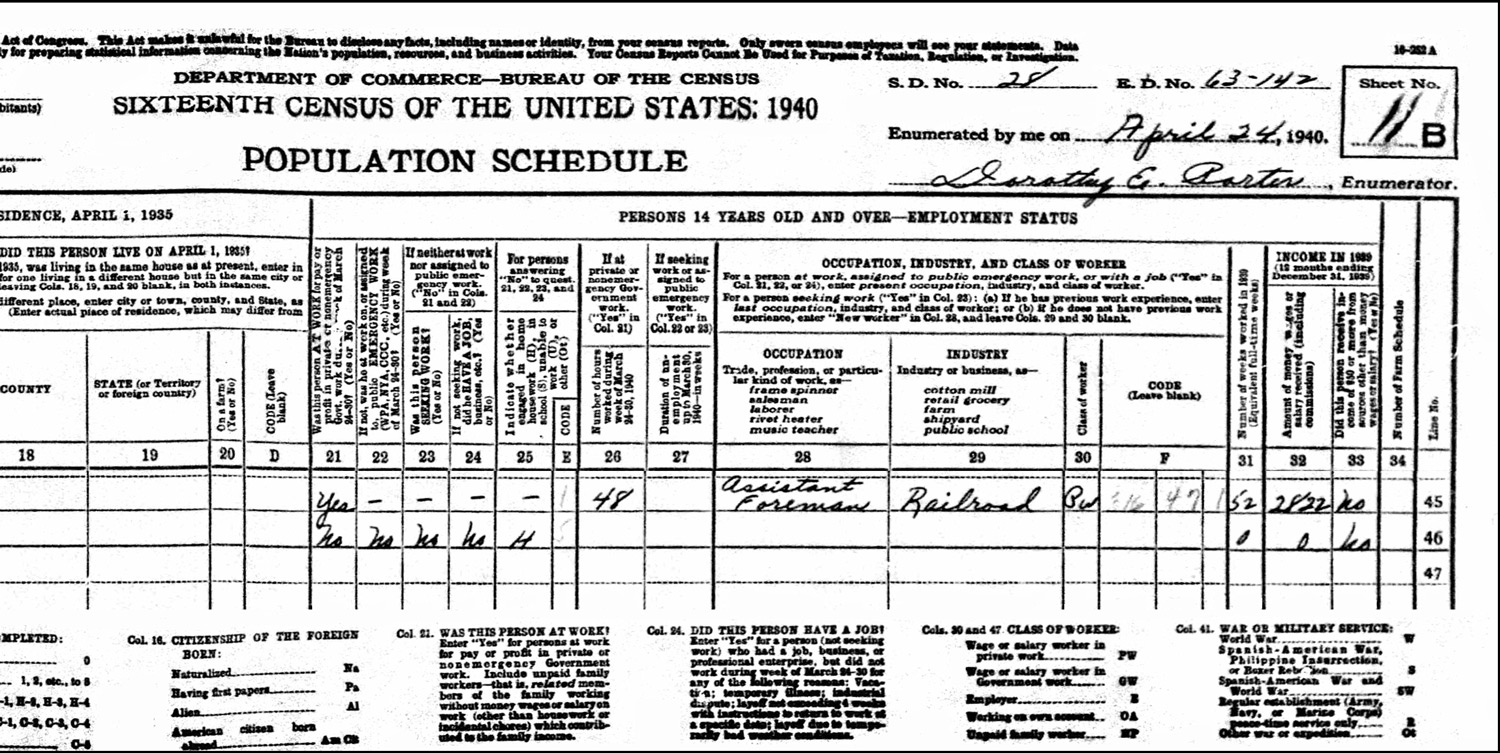 1940 US Federal Census Record for the Henry VanAmburgh Household (Right)
