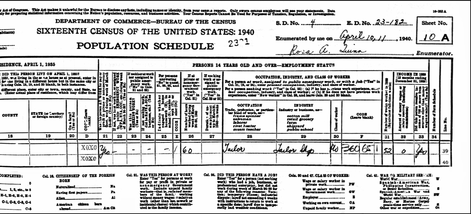 1940 US Federal Census Record for the Oscar Yousoufian Household (Page A Right)
