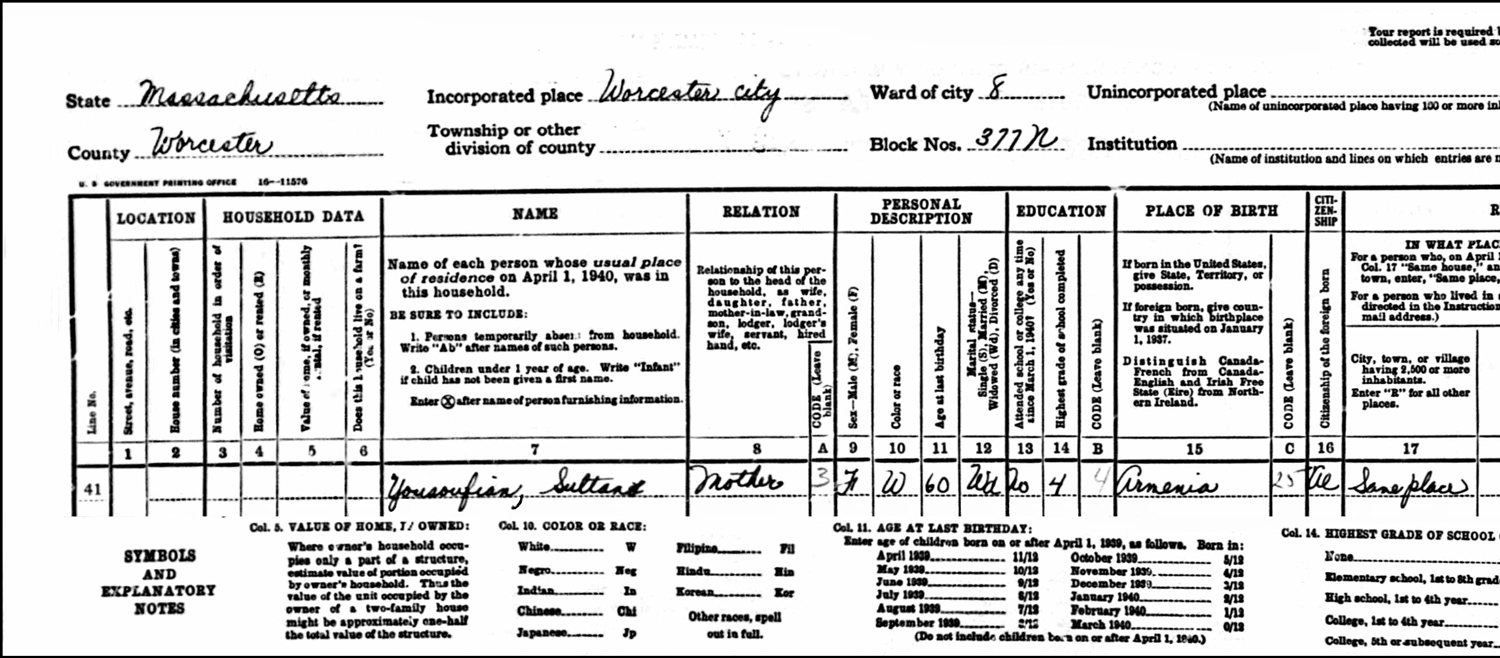 1940 US Federal Census Record for the Oscar Yousoufian Household (Page B Left)