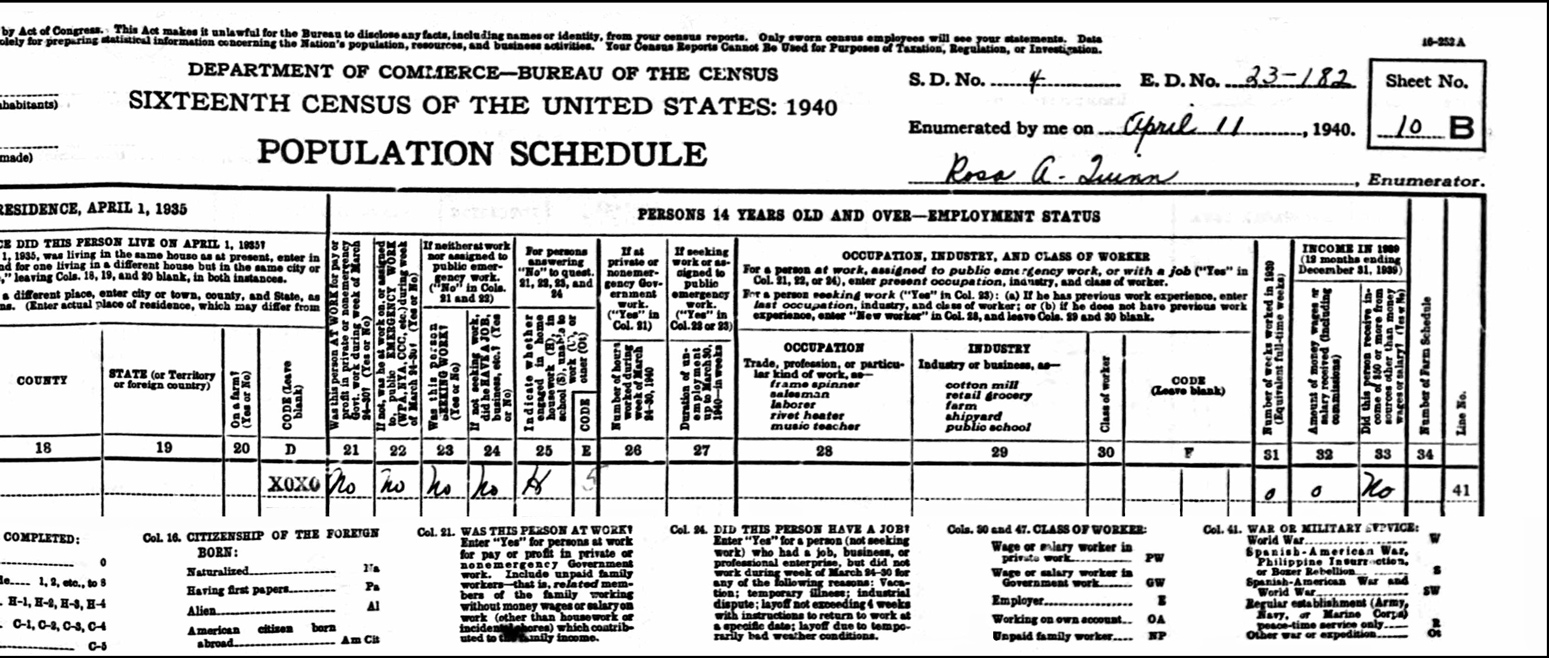 1940 US Federal Census Record for the Oscar Yousoufian Household (Page B Right)