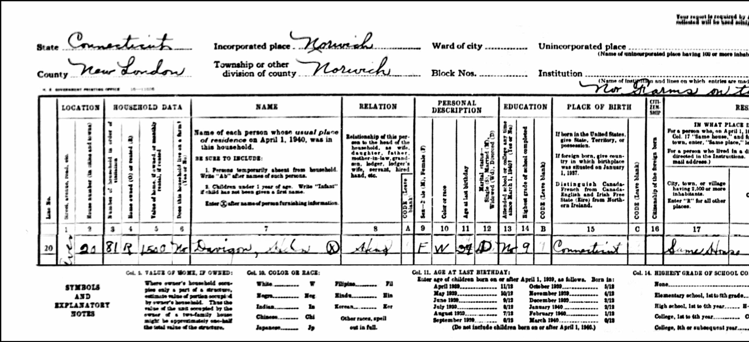 1940 US Federal Census Record for the Helen Davignon Household (Left)