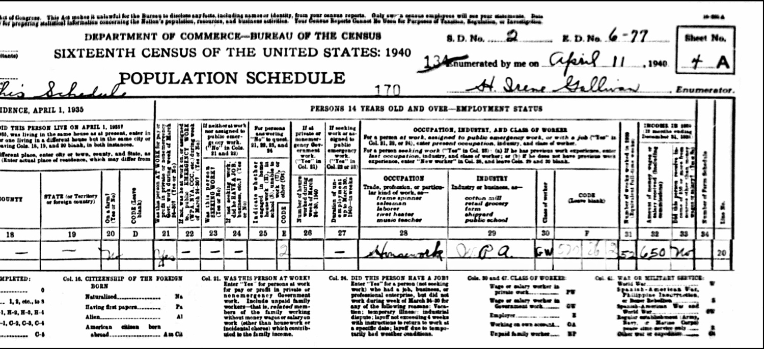 1940 US Federal Census Record for the Helen Davignon Household (Right)