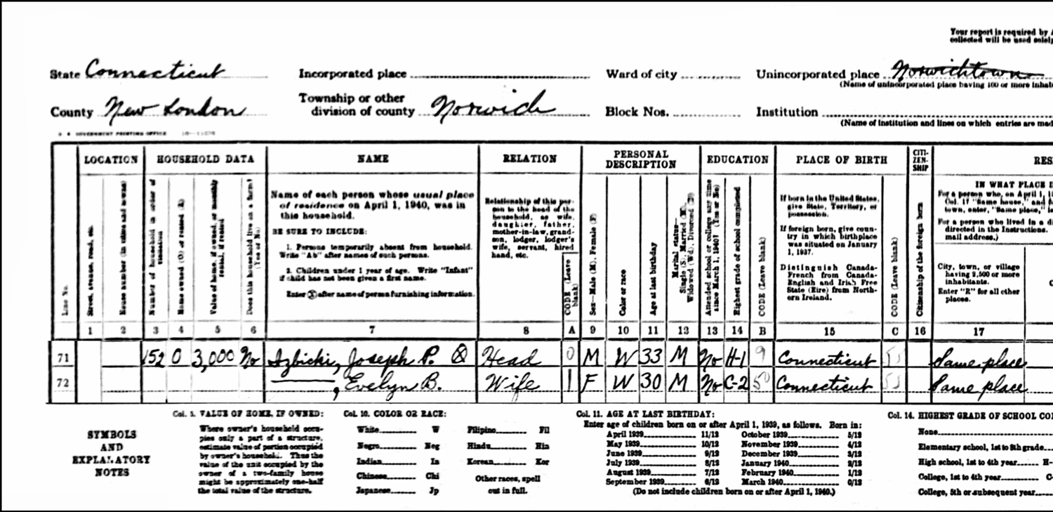 1940 US Federal Census Record for the Joseph Izbicki Household (Left)