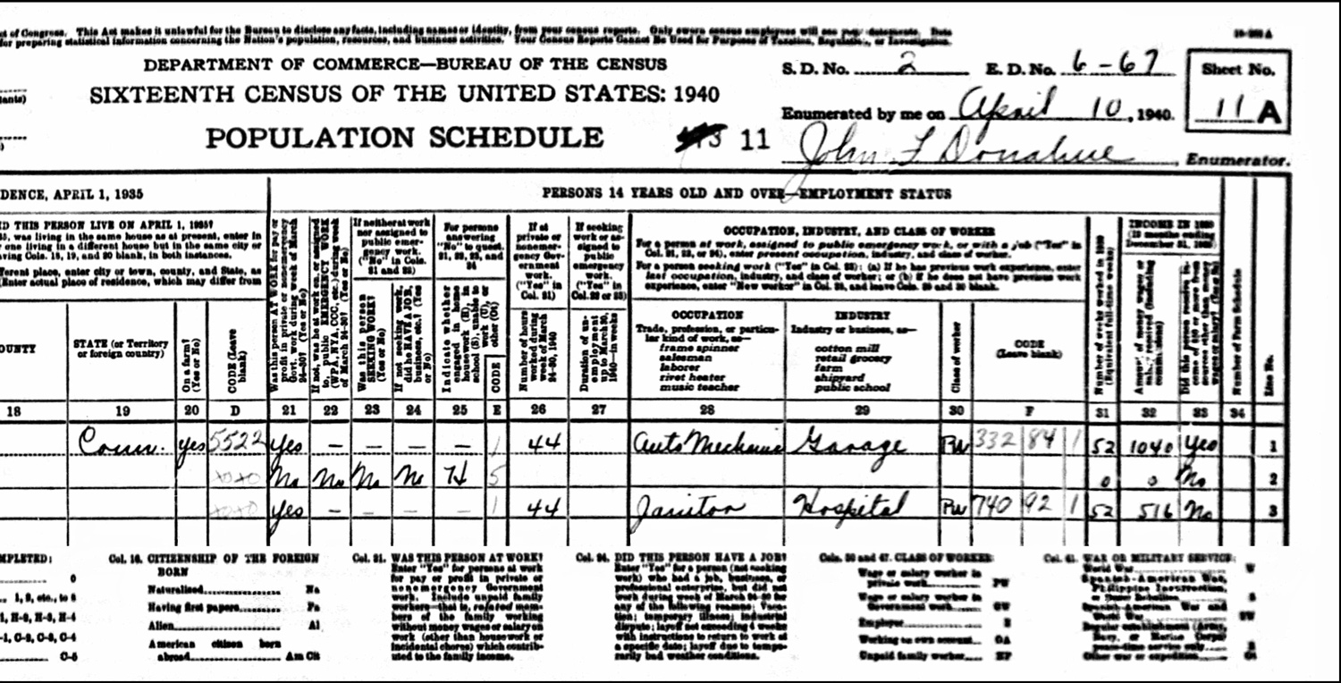 1940 US Federal Census Record for the Peter Kuzzyk Household (Right)