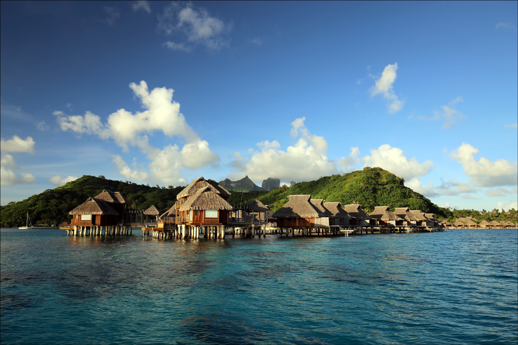 Detail of Overwater Villas at the Hilton Bora Bora Nui Resort and Spa