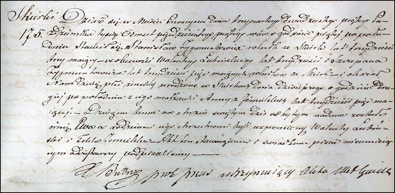 Birth and Baptismal Record for Ewa Zygmuntowicz – 1855
