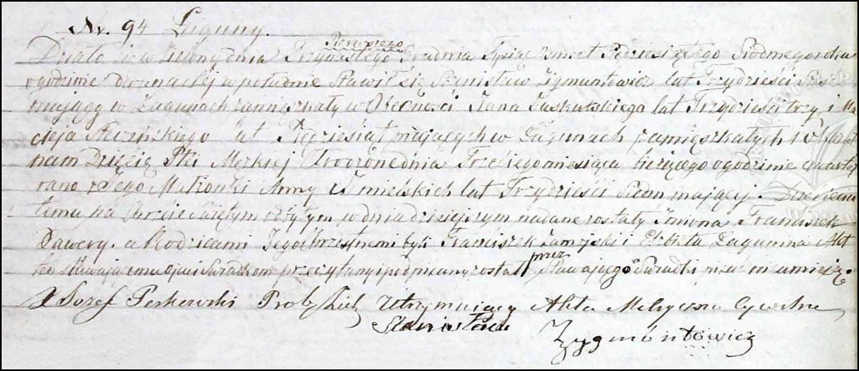 Birth and Baptismal Record for Franciszek Ksawery Zygmuntowicz – 1857