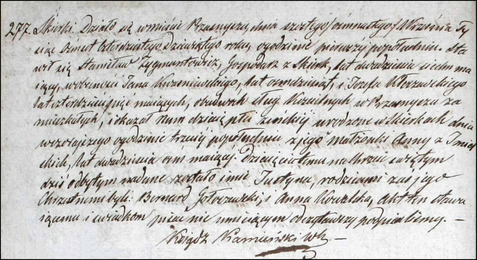 Birth and Baptismal Record of Justyna Zygmuntowicz - 1849
