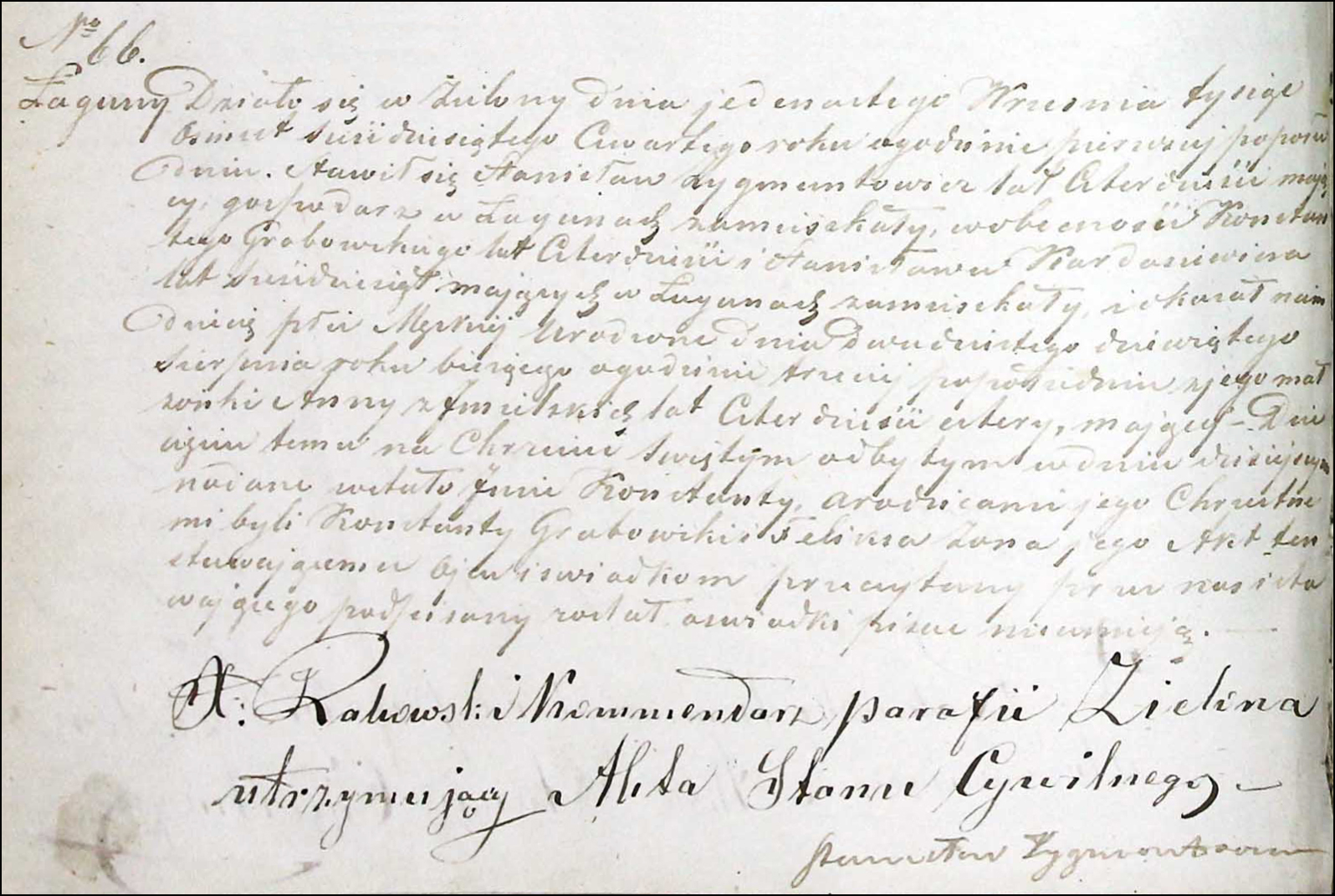 Birth and Baptismal Record for Konstanty Zygmuntowicz – 1864