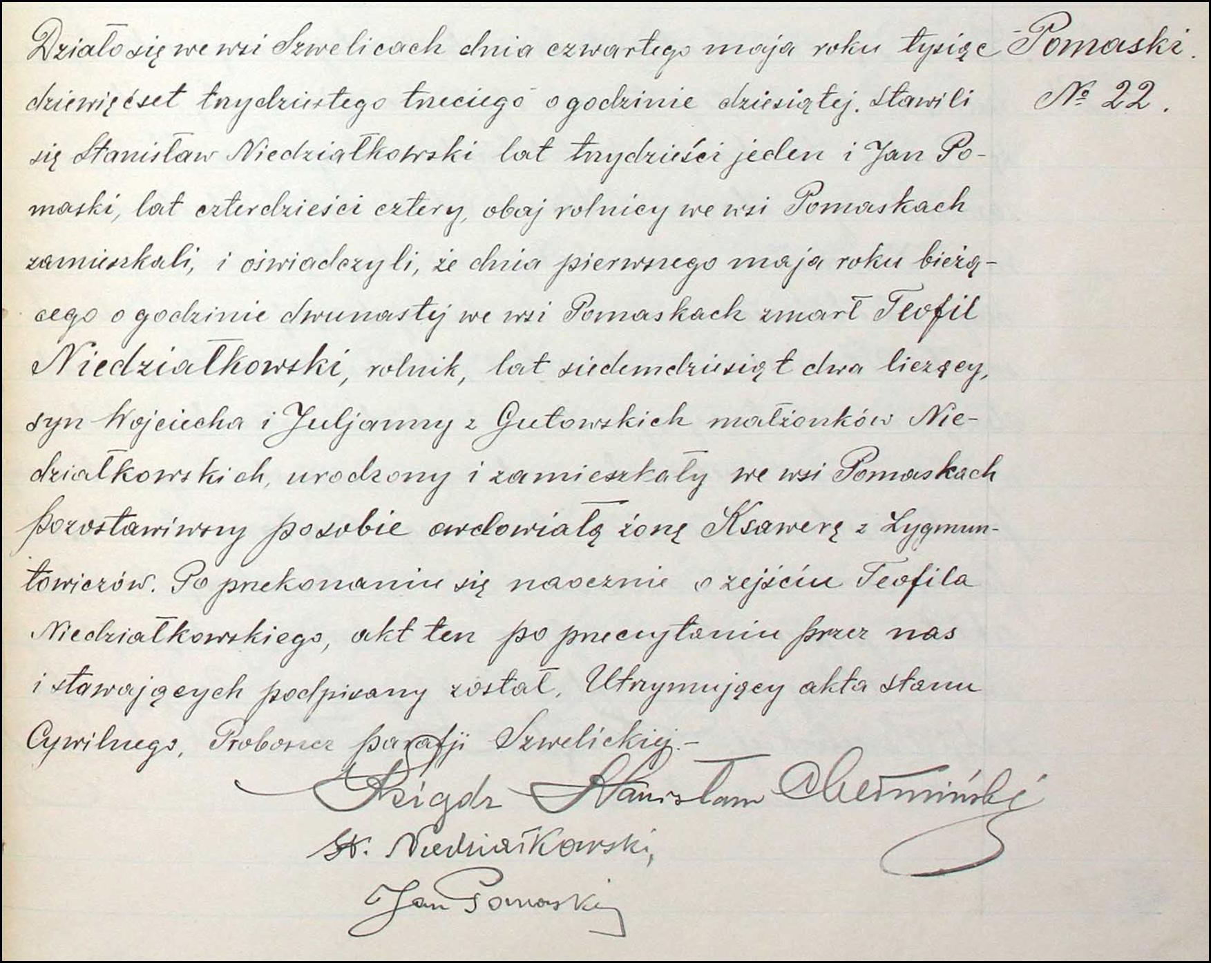 Death Record of Teofil Niedziałkowski - 1933