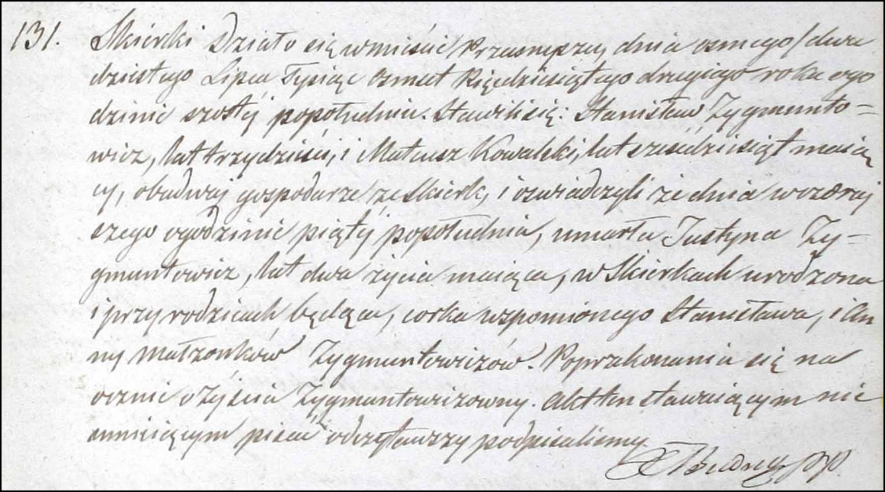 Death and Burial Record for Justyna Zygmuntowicz - 1852