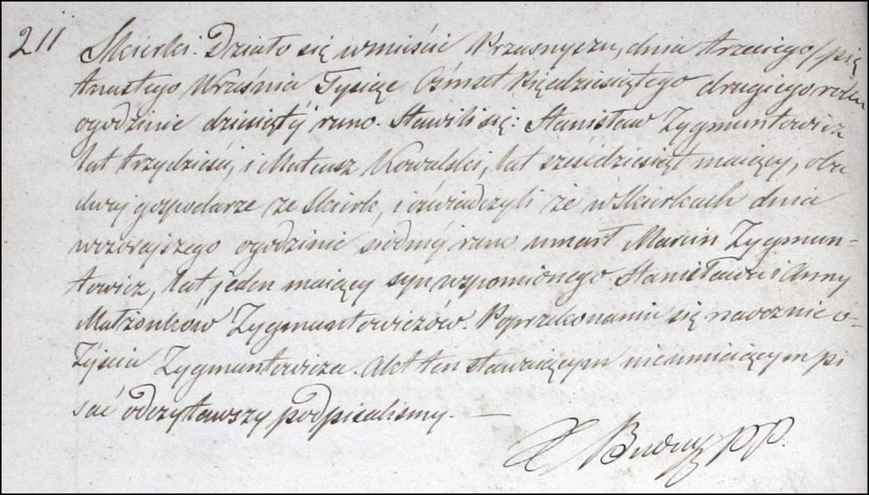 Death and Burial Record for Marcin Zygmuntowicz - 1852