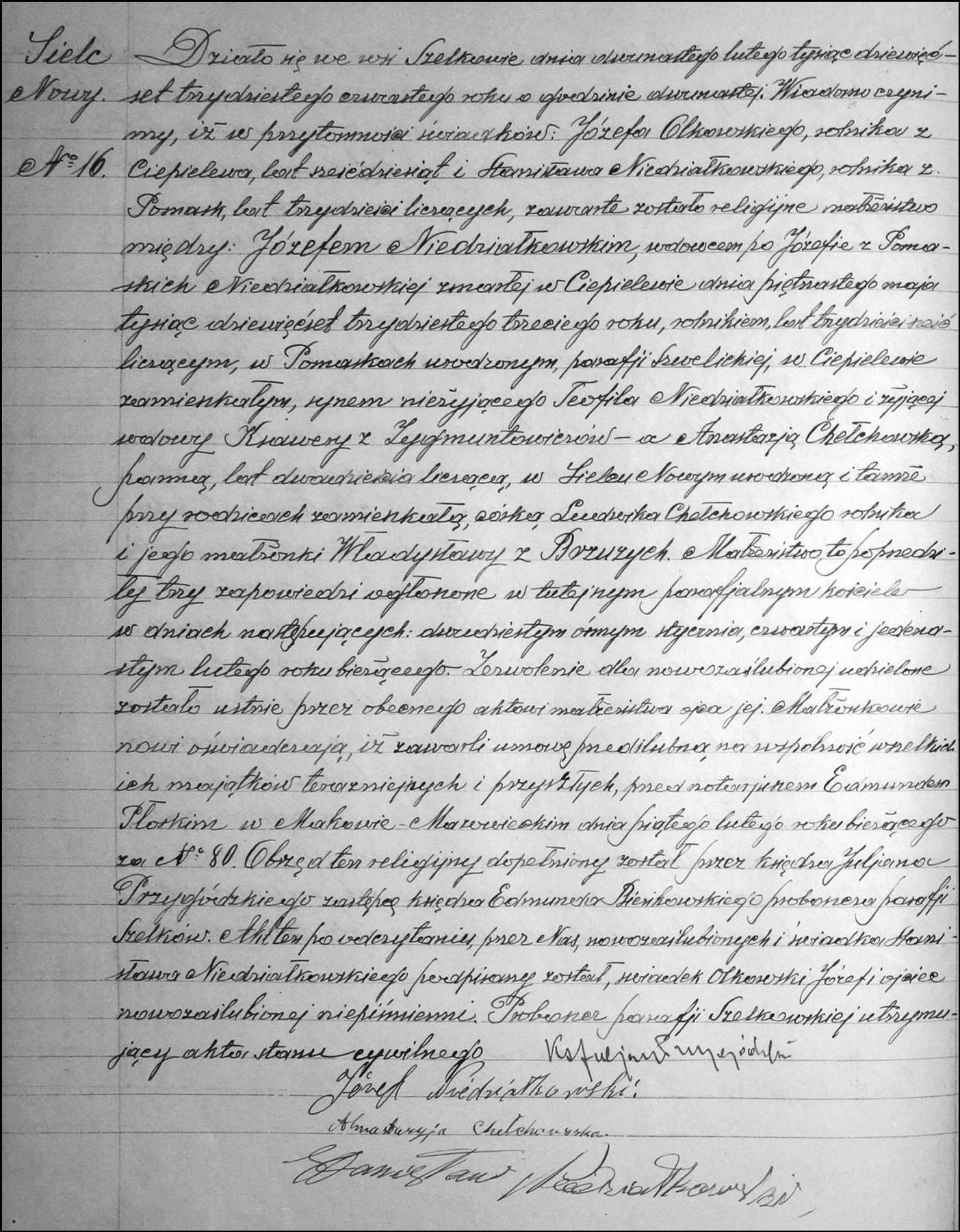 Marriage Record for Józef Niedziałkowski and Anastazja Chełchowska - 1934