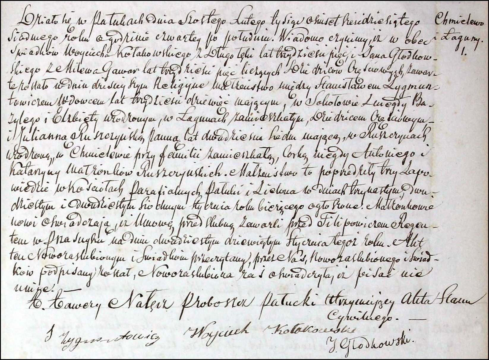 The Marriage Record of Stanisław Zygmuntowicz and Julianna Ruszczyńska - 1867