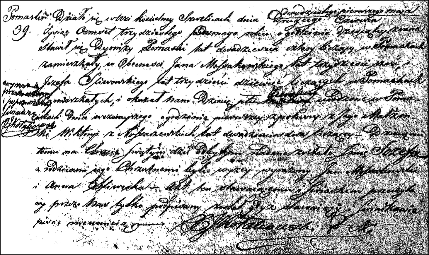 Birth and Baptismal Record for Józefa Pomaska - 1838