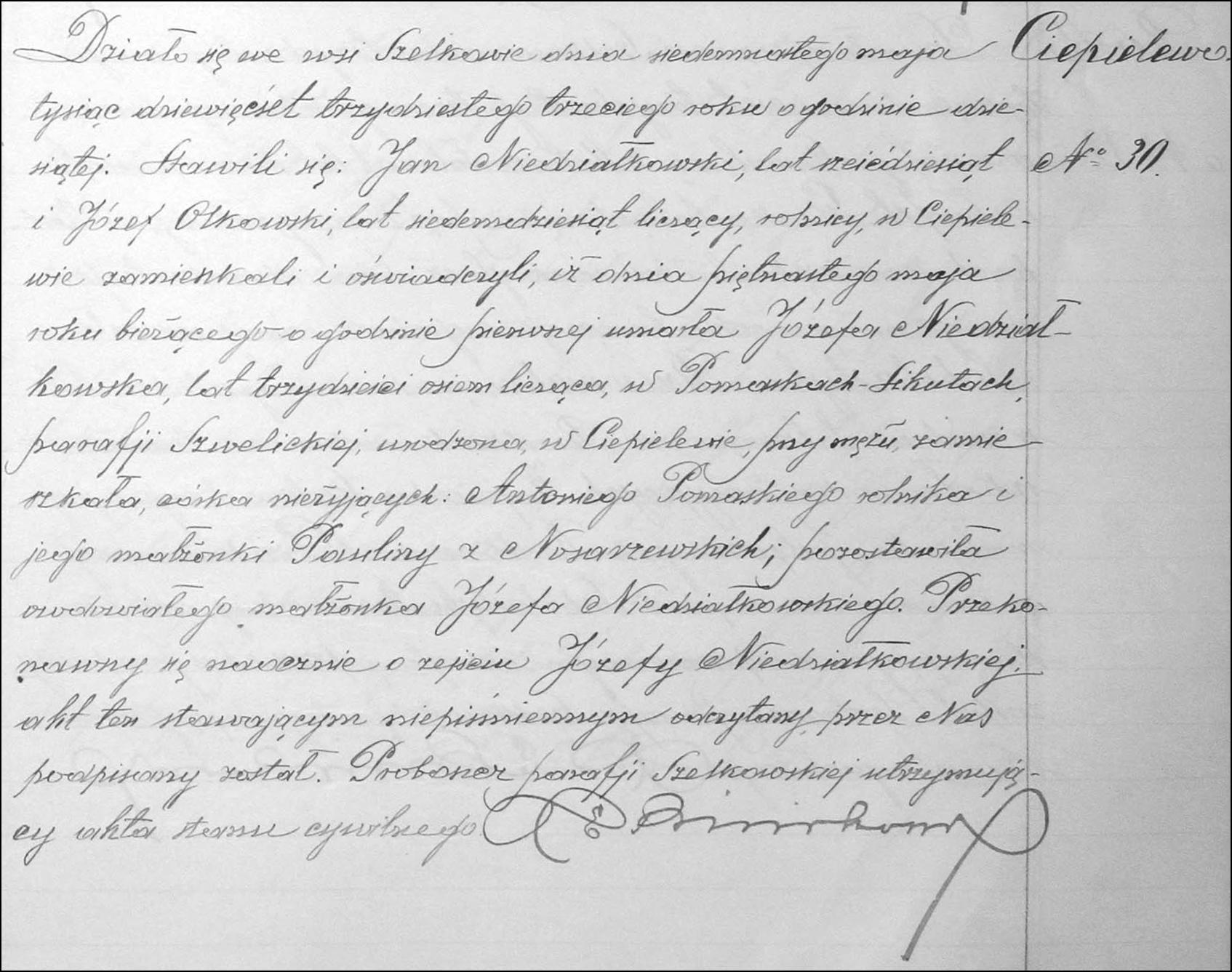 Death and Burial Record for Józefa Niedziałkowska – 1933