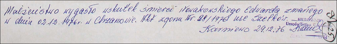Marginal Note of Death for Edward Nowakowski – 1976