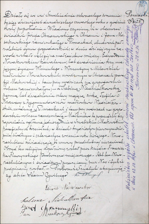 Marriage Record for Edward Nowakowski and Sabina Niedziałkowska – 1924
