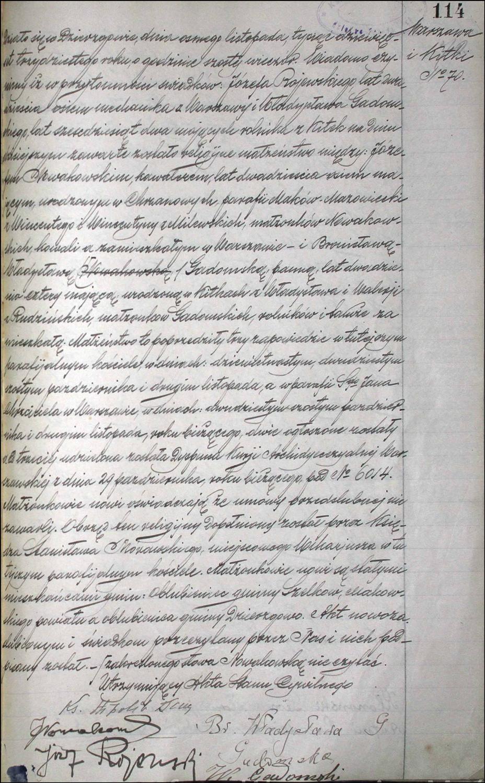 Marriage Record for Józef Nowakowski and Bronisława Władysława Gadomska – 1930