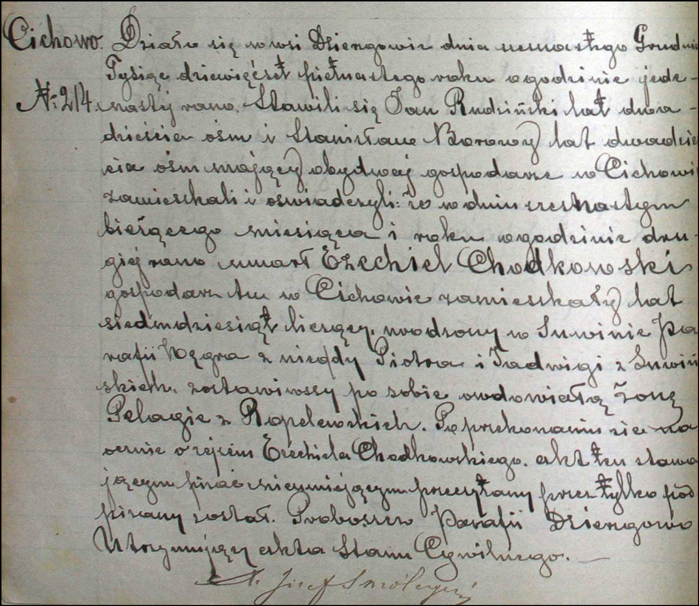 Death and Burial Record for Ezechiel Chodkowski – 1915
