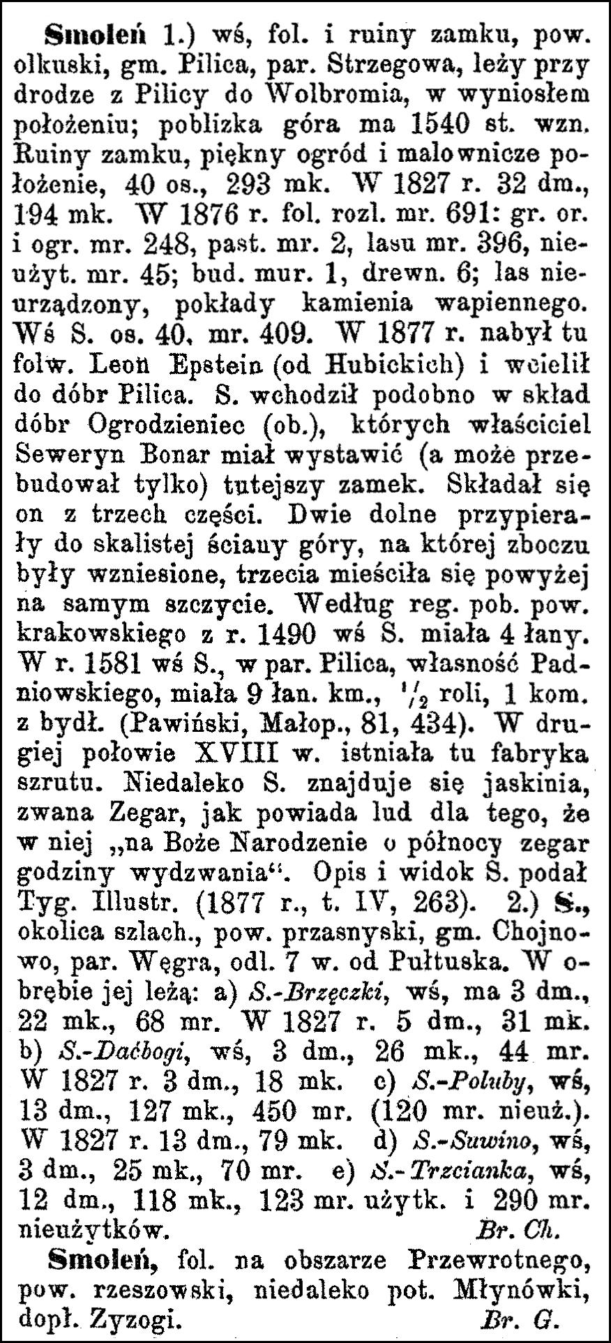 Słownik Geograficzny Entry for Smoleń