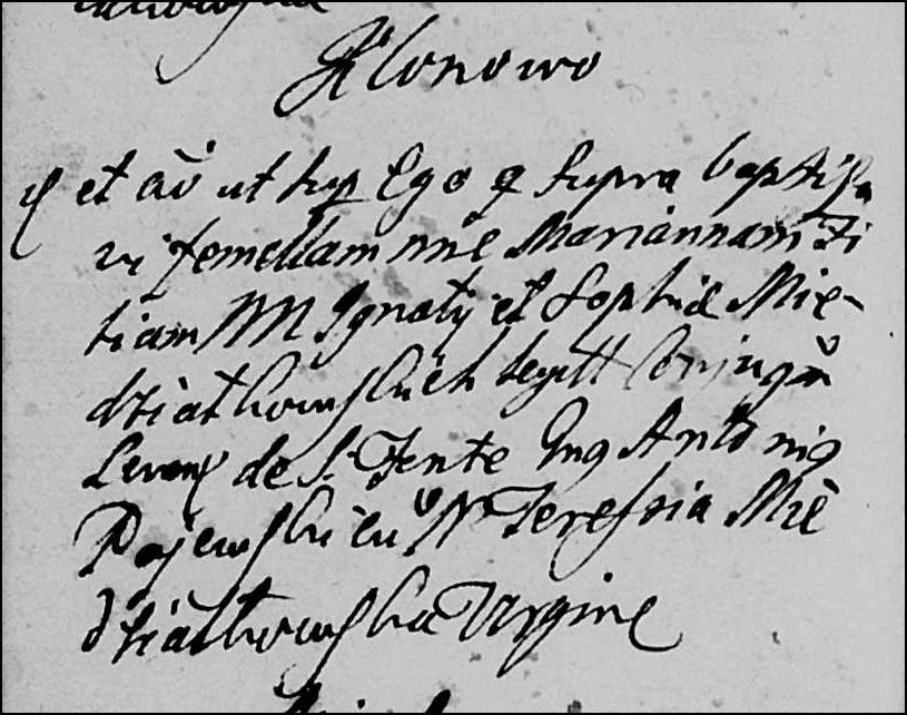The Baptismal Record for Marianna Niedziałkowska - 1745